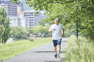 緑の中で運動をするシニアの男性の写真素材 [FYI04623944]