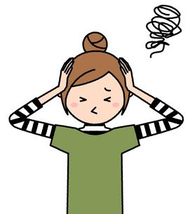 頭を抱える若い女性 ママのイラスト素材 [FYI04624444]