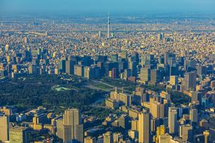 上空から見る午後の日を浴びる東京の街と皇居の写真素材 [FYI04625612]