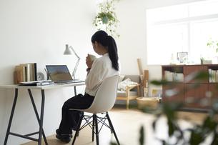 部屋の一角のデスクでノートパソコンに向かって作業する女性の後ろ姿の写真素材 [FYI04626237]