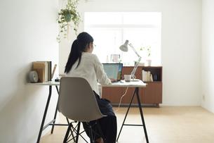 デスクでノートパソコンに向かって作業する女性の後ろ姿の写真素材 [FYI04626255]