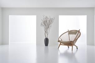 白い空間の中にある椅子と枝が刺さった花器の写真素材 [FYI04626682]