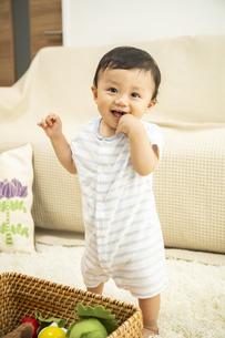リビングで遊ぶ赤ちゃんの写真素材 [FYI04626979]