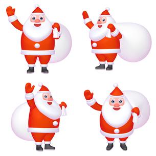 サンタクロースのマスコットキャラクター ゆるキャラ風 (1) 四点セット  カット集のイラスト素材 [FYI04627433]