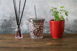 グレープジュースとパセリの鉢植えの写真素材 [FYI04627724]
