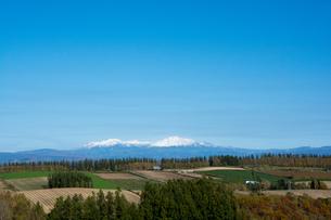 晴れた日の秋の丘陵地帯と冠雪の山並みの写真素材 [FYI04627784]