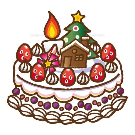 手描き風クリスマスケーキのイラスト素材 [FYI04627794]