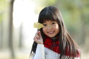 イチョウの葉っぱを持つ笑顔の少女の写真素材 [FYI04627899]