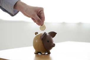 貯金箱に硬貨を入れる女性の手元の写真素材 [FYI04628400]