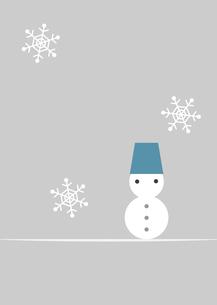 雪だるまと雪(青)のイラスト素材 [FYI04628469]