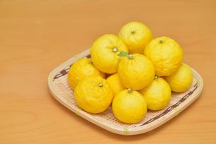 お皿に盛られたゆず 柚子の写真素材 [FYI04629204]