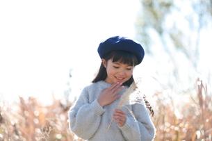 顎に手を当てて植物を見つめる青いベレー帽の少女の写真素材 [FYI04629451]