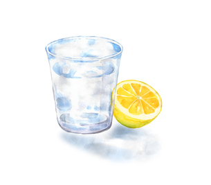 グラスの水とレモンのイラスト素材 [FYI04629545]