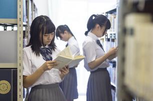 図書室で読書する女子高生の写真素材 [FYI04629671]