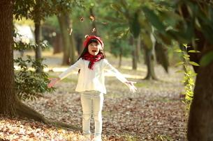 落ち葉で遊ぶ赤いベレー帽をかぶった女の子の写真素材 [FYI04629757]