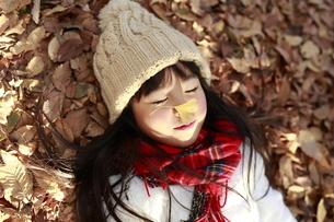落ち葉に寝転び目を瞑る女の子の写真素材 [FYI04629773]