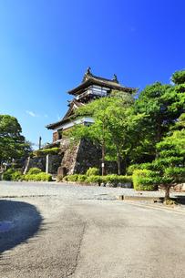 北陸 丸岡城天守と快晴の空の写真素材 [FYI04629822]