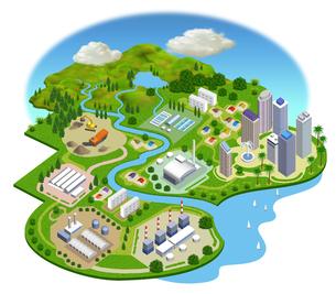 自然の中の豊かな水のある生活、都市・工場・集合住宅などの風景イラストのイラスト素材 [FYI04629963]