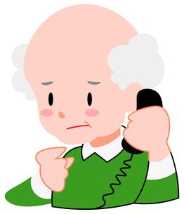 困り顔、電話をする、シニア男性のイラスト素材 [FYI04630835]