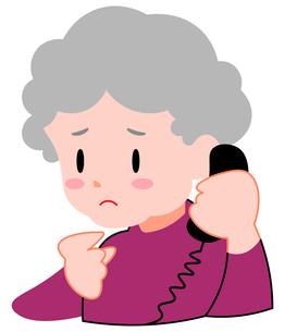 困り顔、電話をする、シニア女性のイラスト素材 [FYI04630842]