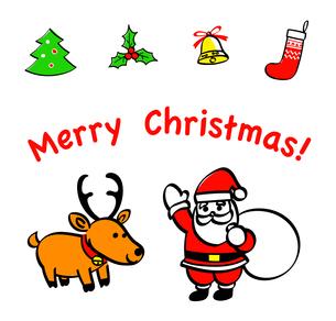 サンタクロースとトナカイ クリスマスの手描きアイコン のイラスト素材 [FYI04631216]