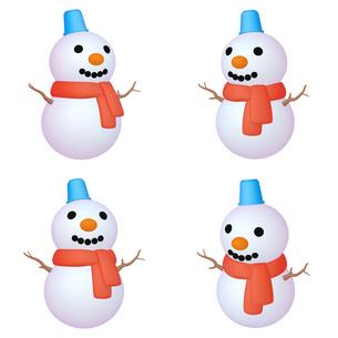 冬のイラストカット ゆきだるま (1) 四点セット カット集のイラスト素材 [FYI04631782]