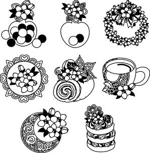 キャンディやリースや宝石やロールケーキやラテやパンケーキなどの、可愛い桜のアイコンいろいろのイラスト素材 [FYI04631872]