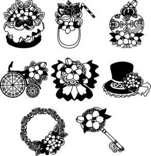 ケーキやスムージーや香水やリースや自転車やリボンやシルクハットや鍵などの、可愛い桜のアイコンいろいろのイラスト素材 [FYI04631873]