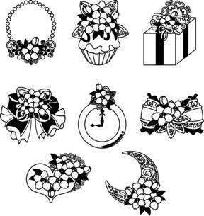 ネックレスやカップケーキやプレゼントや宝石やリボンや時計やなどの、可愛い桜のアイコンいろいろのイラスト素材 [FYI04631874]