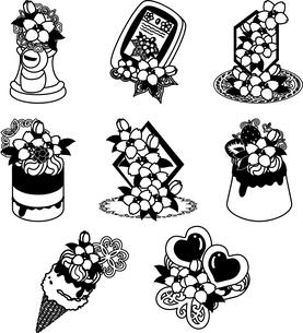 ポストやスマートフォンやクリスタルや宝石やアイスクリームやケーキやプリンやなどの、可愛い桜のアイコンいろいろのイラスト素材 [FYI04631875]