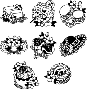 ゼリーやマカロンやタルトやケーキやティアラや帽子やパイやなどの、可愛い桜のアイコンいろいろのイラスト素材 [FYI04631876]