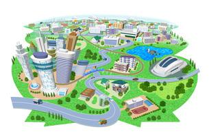 学校やスタジアムのある住宅やビルの街並み3Dイラストのイラスト素材 [FYI04631934]