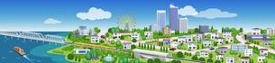 人が楽しげで海や橋が続く、広がりのある住宅やビルの街並み3Dイラストのイラスト素材 [FYI04631939]