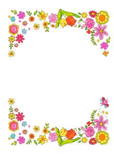 春の花 フレームのイラスト素材 [FYI04632192]