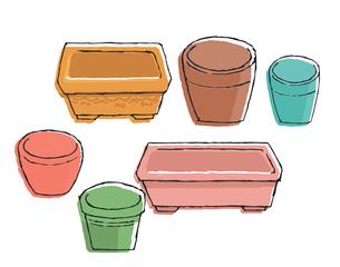 様々な形の植木鉢のイラスト素材 [FYI04632212]