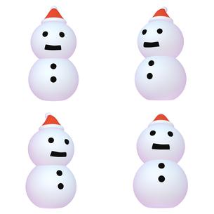 冬のイラストカット ゆきだるま (2) サンタ帽 四点セット カット集のイラスト素材 [FYI04632361]
