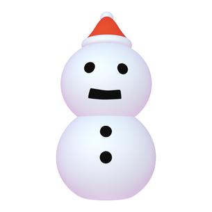 冬のイラストカット ゆきだるま (2-1) サンタ帽のイラスト素材 [FYI04632366]
