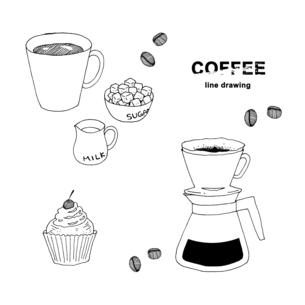 コーヒー手描き線画イラストのイラスト素材 [FYI04632581]