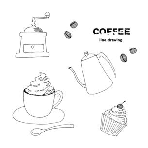 コーヒー手描き線画イラストのイラスト素材 [FYI04632582]