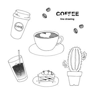 コーヒー手描き線画イラストのイラスト素材 [FYI04632583]