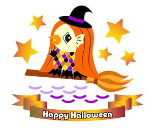 ハロウィン素材 魔女の仮装をしているアマビエさん(日本の妖怪) イラストのイラスト素材 [FYI04632883]