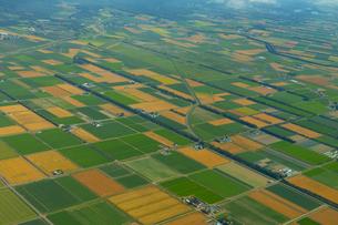 上空から見る千歳郊外の畑の写真素材 [FYI04632885]