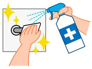 消毒、掃除、ドアノブを拭く手、消毒スプレーをする手のイラスト素材 [FYI04632952]