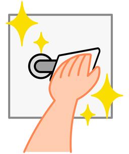 消毒、掃除、ドアノブを拭く手のイラスト素材 [FYI04632953]