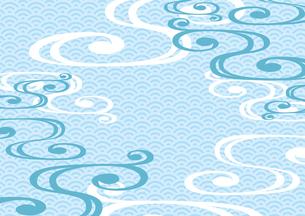 流水紋と青海波 和風背景 水色のイラスト素材 [FYI04632991]