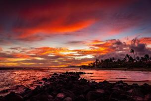 【ハワイ カウアイ島】夕暮れの海の自然風景の写真素材 [FYI04633281]