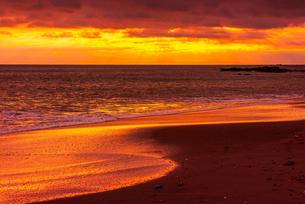 【神奈川県 鎌倉】夕方の湘南の海の砂浜の写真素材 [FYI04633282]