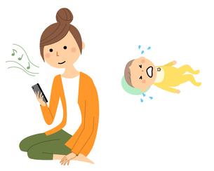 育児放棄をしてスマートフォンを見る若い女性のイラスト素材 [FYI04633292]