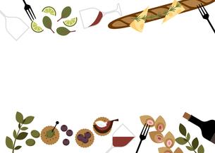 ワインとおつまみパーティーのフレームのイラスト素材 [FYI04633327]
