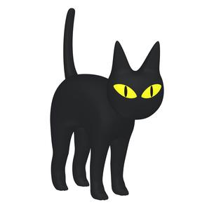 ハロウィン ミステリアスな黒猫 (1-2)のイラスト素材 [FYI04633512]